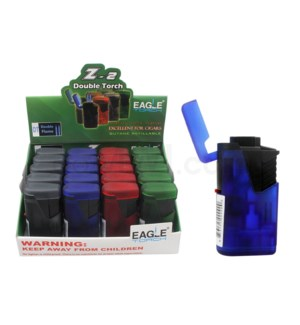 "Eagle Pocket Torch - 2.75"" Dbl Flame Clear Asst Lighter 20PC/"