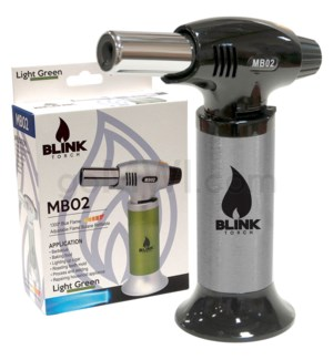 "Blink Table Torch - 6.25"" MB02 W/ Adjust. Flame -Silver"