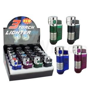 "Pocket Torch - 3"" Triple Flame Auto-Open 20PC/BX"