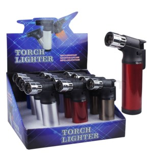 "Pocket Torch - 5"" Metal 4 Flame Assorted Lighter 12PC/BX"