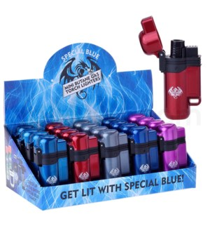 "Special Blue Pocket Torch 3"" Turbo Metal Lighter 20CT/BX"