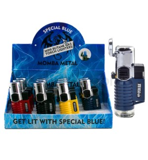 "Special Blue Pocket Torch 3"" Momba Metal Lighter 12CT/BX"