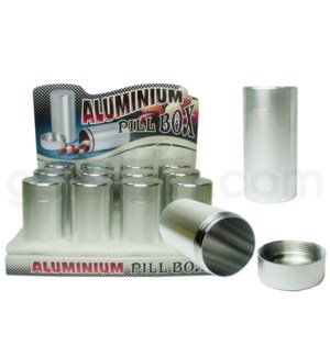 "Pill Box Aluminum  2.7 tall 1.3""- dm 12pcs/10 bxs/120cs"