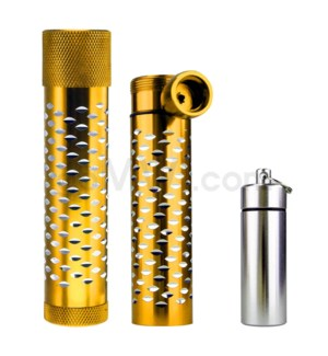 Metal Hand Pipe Steamroller w/ container diamond cut GOLD