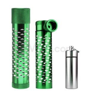 Metal Hand Pipe Steamroller w/ container diamond cut GREEN