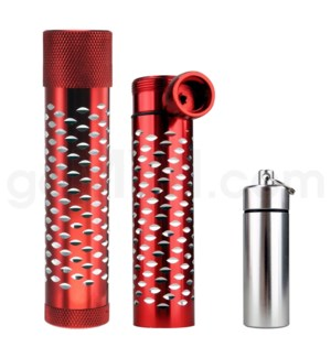 Metal Hand Pipe Steamroller w/ container diamond cut RED