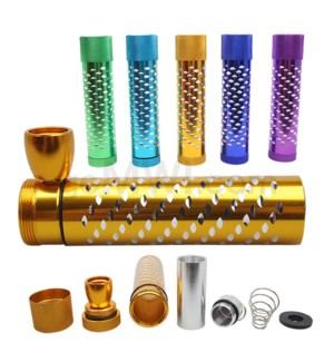"4"" Metal Hand Pipe Steamroller w/ Container Diamond Cut Asst."