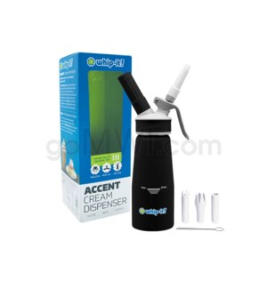 Whip-It Rubber Coated Pro Dispenser .25L- 1/2PT Black 6PC/CS