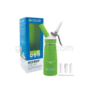 Whip-It Rubber Coated Pro Dispenser .25L- 1/2PT Green 6PC/CS