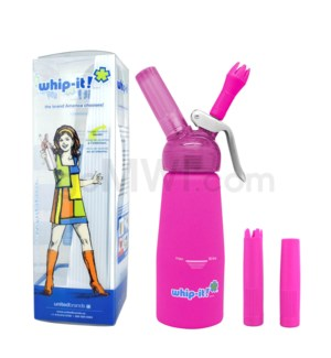 Whip-It Rubber Coated Pro Dispenser .25L- 1/2PT Pink 6PC/CS