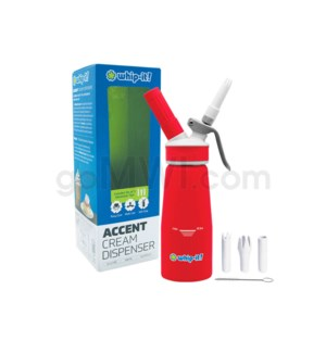Whip-It Rubber Coated Pro Dispenser .25L-1/2PT Red 6PC/CS