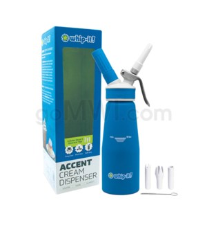 Whip-It Rubber Coated Pro Dispenser .5L- Blue 6PC/CS