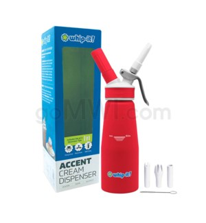 Whip-It Rubber Coated Pro Dispenser .5L- Red 6PC/CS