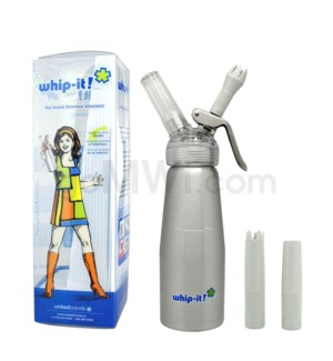 Whip-It Dispenser .5L- Brushed Silver 6PC/CS