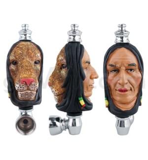 "3.5"" Metal Polyresin Pipe - Rasta 2 Head"