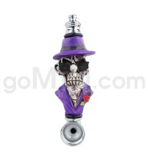 "3.5"" Metal Polyresin Pipe - Gangster Skull"