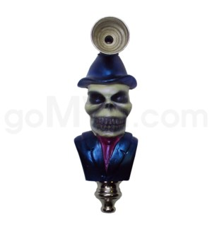 "3.5"" Metal Polyresin Pipe - Skull with Top Hat"