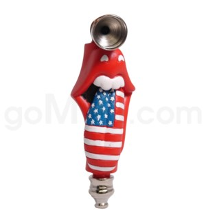 DISC Metal Polyresin Pipe  - Rolling Stones USA flag