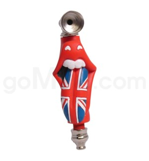 "3.5-4"" Metal Polyresin Pipe  - Rolling Stones England flag"