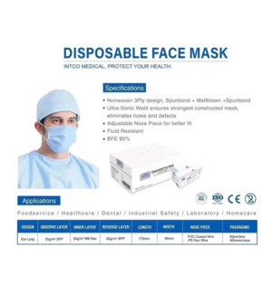 Disposable Face Mask 50CT/BX (NOT N95)