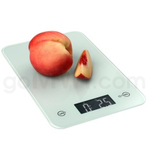 AWS 11 lbs x 0.1oz Kitchen Glass Scales - White