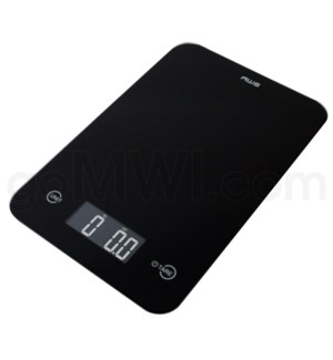 AWS 11 lbs 0.1oz Kitchen Glass Scales- Black