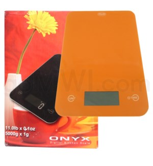 AWS 11 lbs x 0.1oz Kitchen Glass Scales - Orange