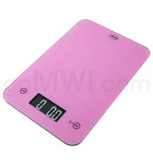 AWS 11 lbs x 0.1oz Kitchen Glass Scales - Pink