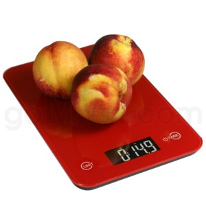 AWS 11 lbs x 0.1oz Kitchen Glass Scales - Red