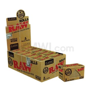 Raw Classic Hemp SINGLE WIDE 5 Meter Rolls 24/bx