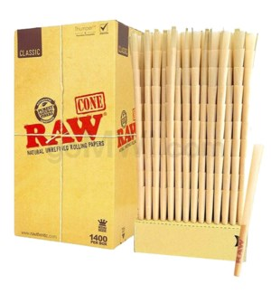 Raw Classic King Size Pre-Rolled Cones 1400ct/bx