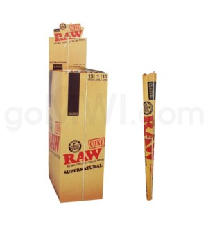 "Raw Classic 12"" Pre-Rolled Supernatural Cones 1/pk 15ct/bx"
