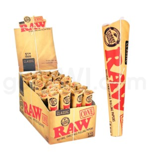 """Raw Classic 1 1/4"""" Pre-Rolled Cones 6pk 32ct/bx"""