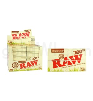 "Raw Organic Hemp 1 1/4"" 300's Rolling papers 300/pk 40ct/bx"