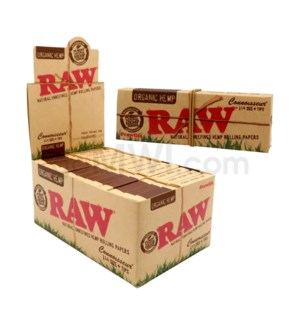 "Raw Organic Hemp1 1/4"" Rolling Paper+ Tips 32/pk 24ct/bx"