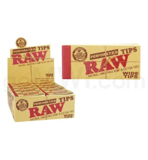 Raw Natural Perforated Hemp & Cotton Wide Tips 50ct/bx