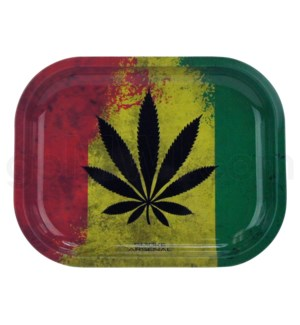 V Syndicate 5x7in Mini Rolling Tray- Rasta Leaf