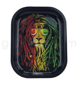 Smoke Arsenal 5x7in Mini Rolling Tray-Rasta Lion