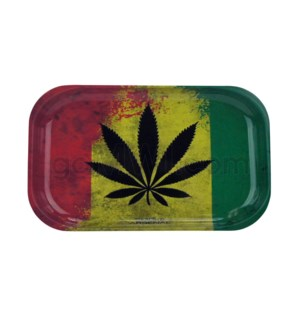 V Syndicate 11x7in Medium Rolling Tray-Rasta Leaf