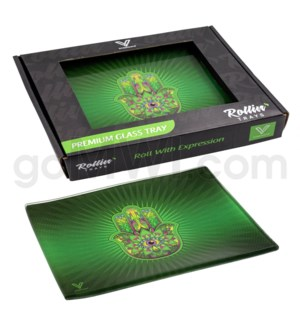 V Syndicate 5x7in Small Glass Rolling Tray- Hamsa Green