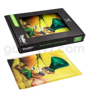 V Syndicate 5x7in Small Glass Rolling Tray- Mad Hatter