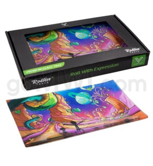 V Syndicate 10x7in Med Glass Rolling Tray- Dimensional Shift
