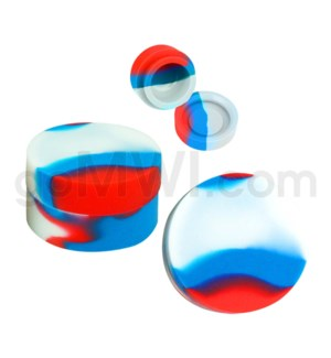 """1.25"""" 6ml Silicone Container Red White Blue Swirls"""