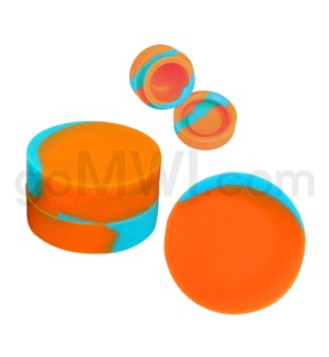 "1.25"" 6ml Silicone Container Sky Blue & Orange Swirls"