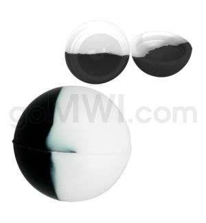 """1.5"""" Silicone Sphere Containers Black White Swirls"""