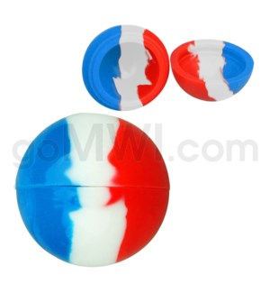 """1.5"""" Silicone Sphere Containers Red Blue White Swirls"""
