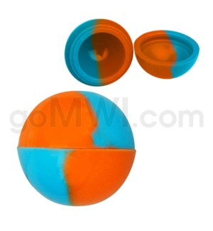 """1.5"""" Silicone Sphere Containers Sky Blue Orange Swirls"""
