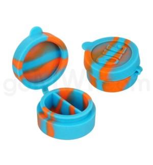 "1.5"" Silicone Cosmetic Container Sky Blue Orange Swirls"