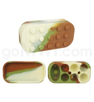 "4""  Silicone Lego Style Container Camo Swirls"