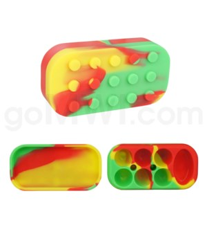 "4""  Silicone Lego Style Container Rasta Swirls"